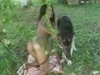 Brazilian Chick Lets Dog Fuck Her Outside